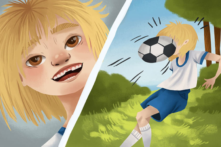 Cartoon of a blond child getting hit in the face with a soccer ball on the right panel and a smiling face with chipped tooth on the left panel