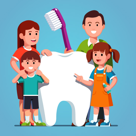 Cartoon family of four standing next to an oversized tooth and toothbrush.